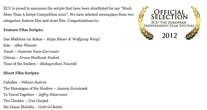 Lebanese Screenwriter Finalist in the European Independent Film