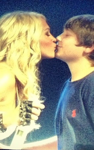 Carrie Underwood Gives 12 Year Old Chase His First Kiss. Hilarious!
