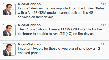 Nicolas Sehnaoui iPhone 5 tweets