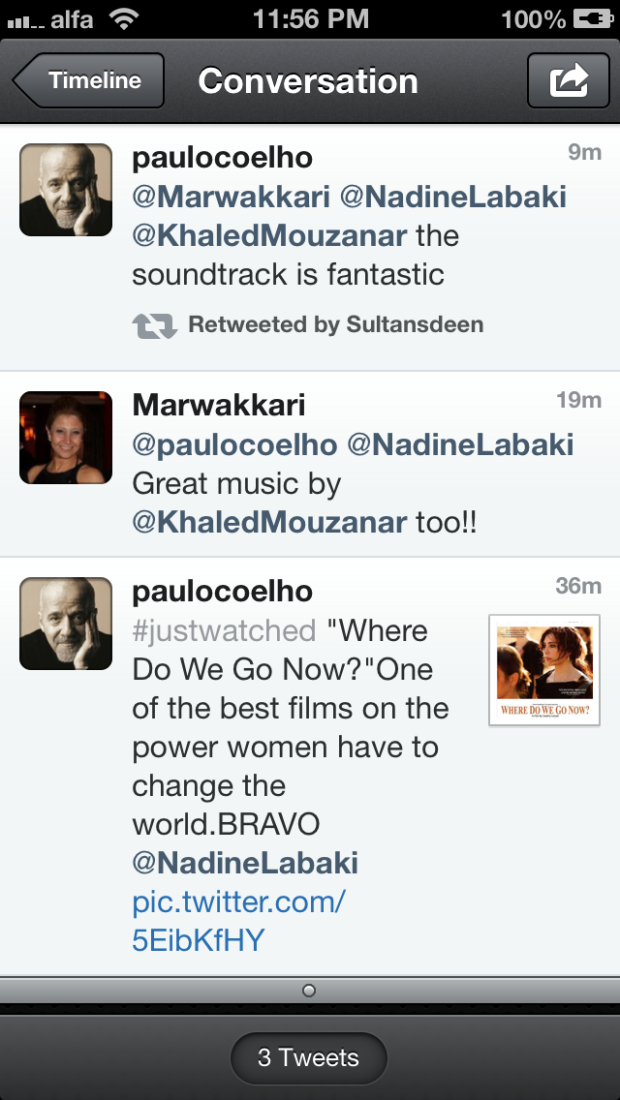 Paulo Coelho + Where Do We Go Now + Nadine Labaki
