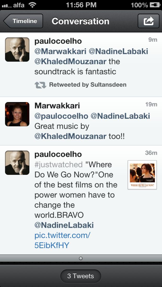 Paulo Coelho + Where Do We Go Now + Nadine Labaki