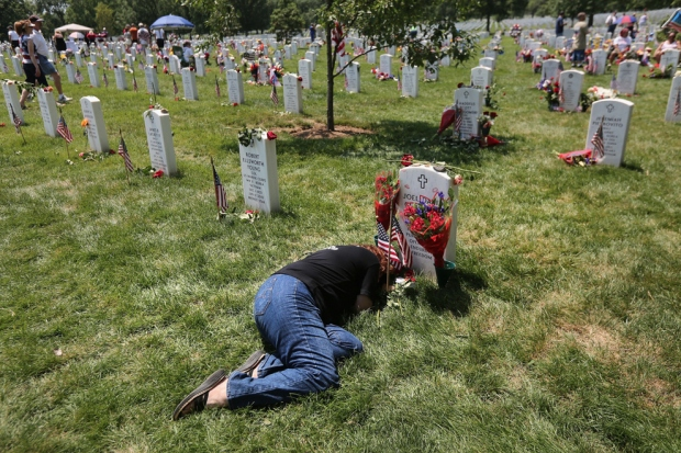 An American woman mourns her son on Memorial Day