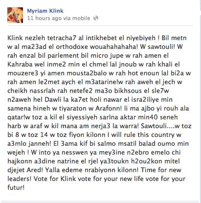 Myriam Klink Elections 2013 Lebanon