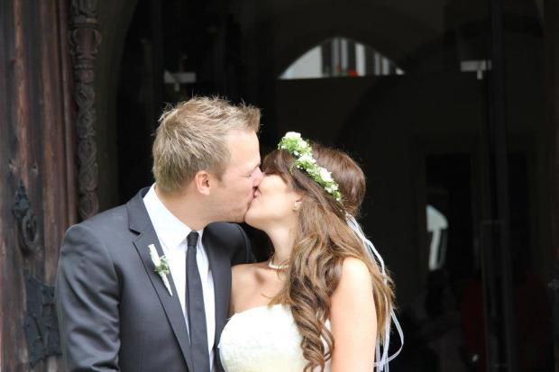 This is Nadine Lager and her husband. They got married in Austria