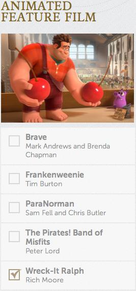 Animated Film Academy Awards Oscars 2013