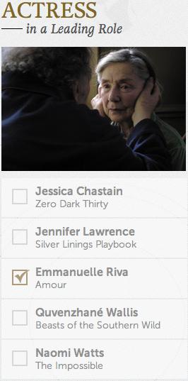 Best Actress Academy Awards Oscars 2013