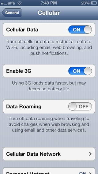 LTE toggle iPhone 5 - 2