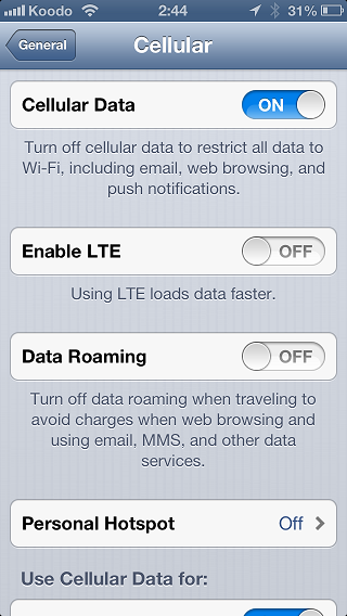 LTE toggle iPhone 5