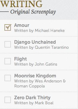 Original Screenplay Academy Awards Oscars 2013