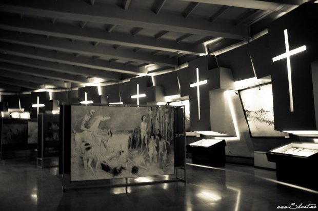 Tsitsernagapert, inside the museum: A photo of the museum next to the memorial, Yerevan Armenia. - Photo by Shant Demirdjian