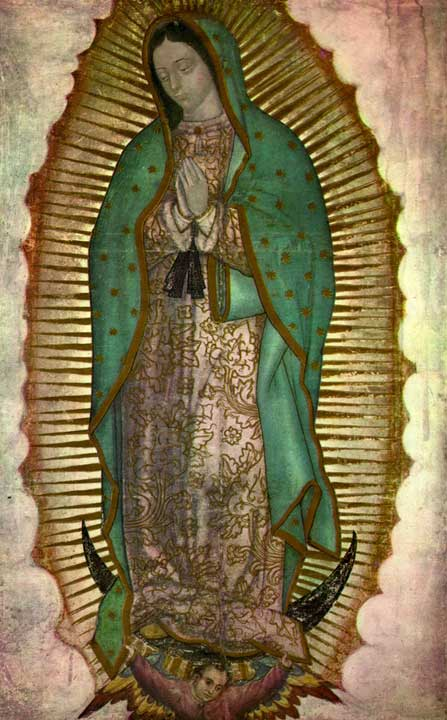 Virgin Mary standing on crescent moon