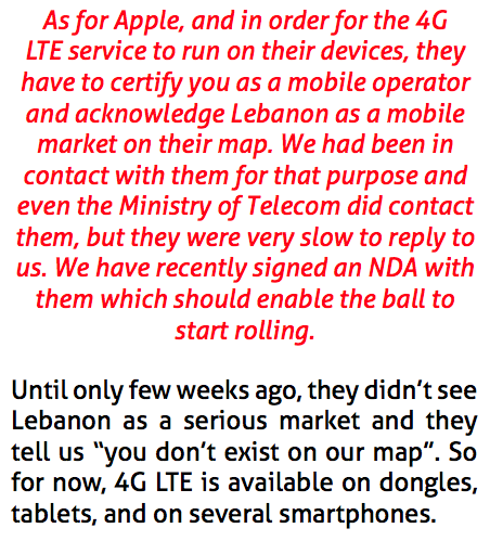 Apple Lebanon 4G