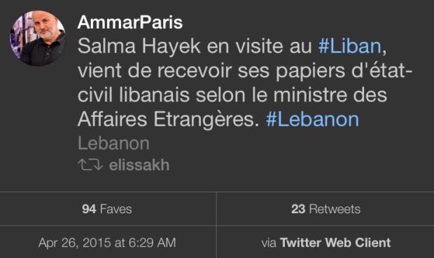 Salma Hayek Lebanese citizenship