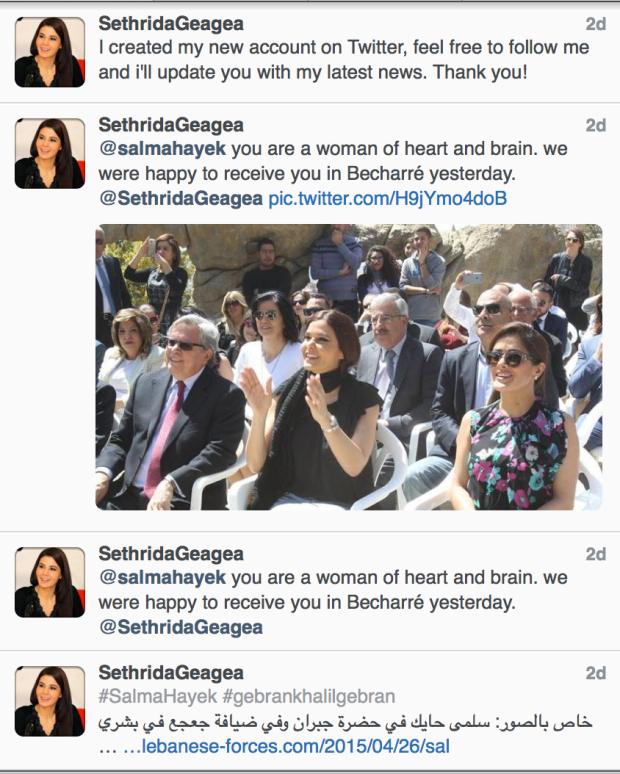 Sethrida Geagea Twitter Salma Hayek